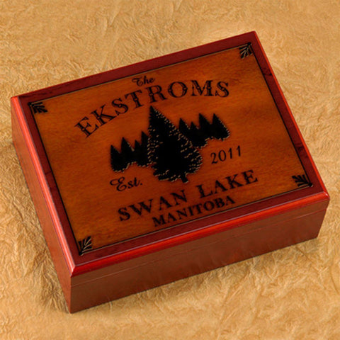 Personalized Humidors - Cabin and Lake House Series - Spruce - Cabin Decor - AGiftPersonalized