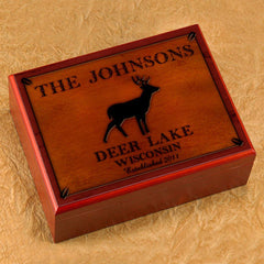Personalized Humidors - Cabin and Lake House Series - Stag - Cabin Decor - AGiftPersonalized