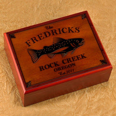 Personalized Humidors - Cabin and Lake House Series - Trout - Cabin Decor - AGiftPersonalized