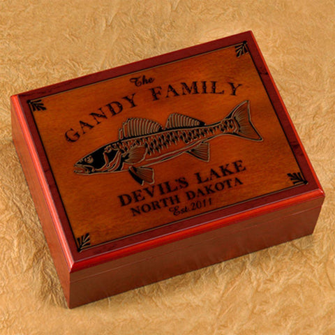 Personalized Humidors - Cabin and Lake House Series - Walleye - Cabin Decor - AGiftPersonalized