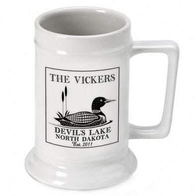 Personalized Lake House Cabin Beer Mugs - Loon - JDS