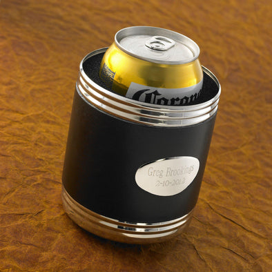Personalized Black Leather Can Cooler -  - JDS