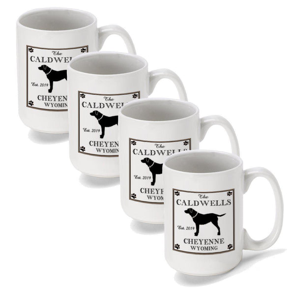 Personalized Coffee Mugs - Set of 4 - Cabin Series - Lake House Decor - Lab - JDS