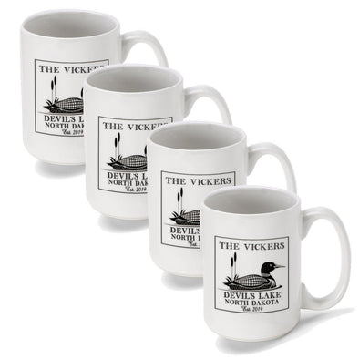 Personalized Coffee Mugs - Set of 4 - Cabin Series - Lake House Decor - Loon - JDS