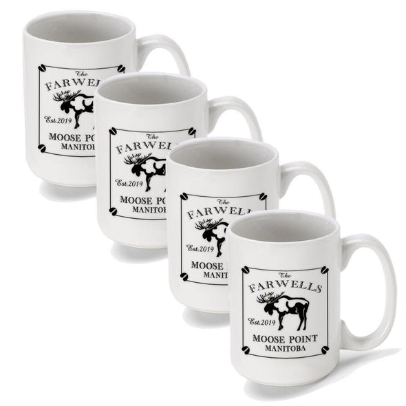Personalized Coffee Mugs - Set of 4 - Cabin Series - Lake House Decor - Moose - JDS
