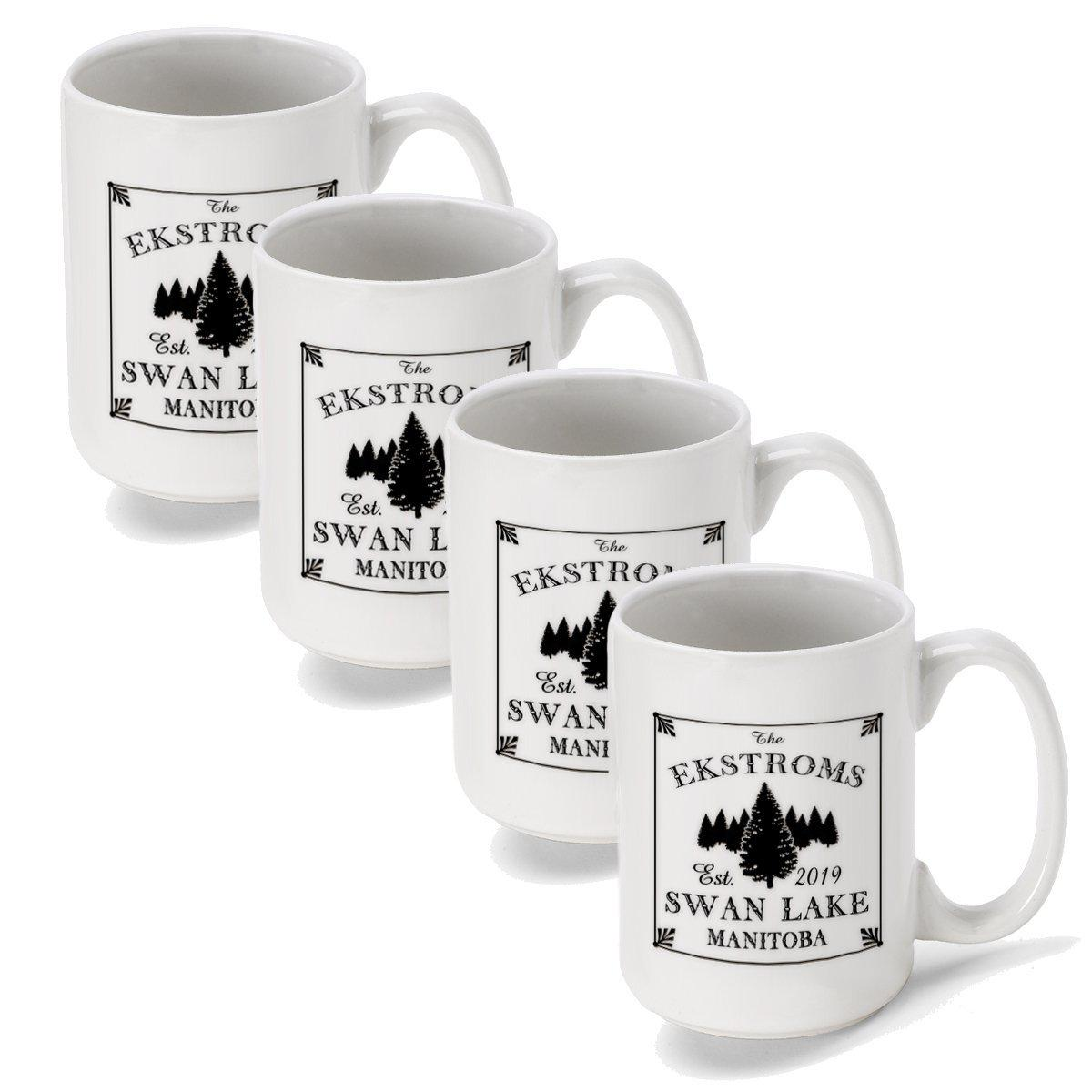 Set of 4 - Personalized Lake House and Cabin Coffee Mugs