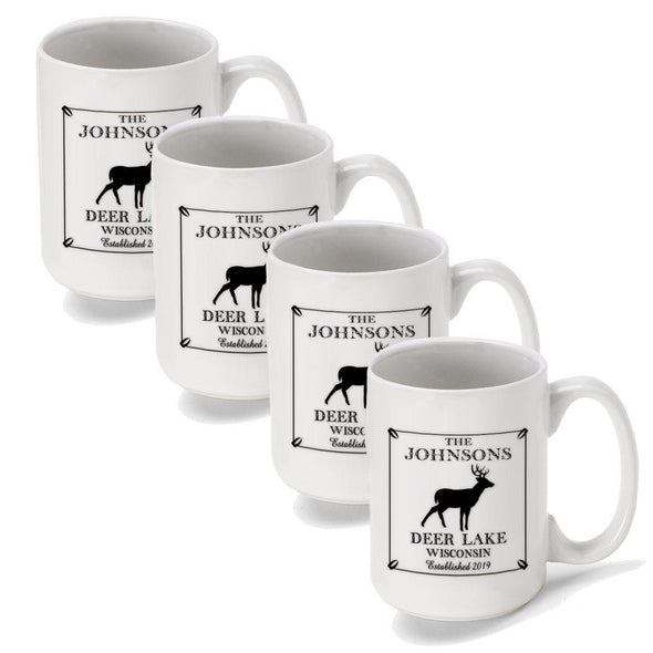 Personalized Coffee Mugs - Set of 4 - Cabin Series - Lake House Decor - Stag - JDS
