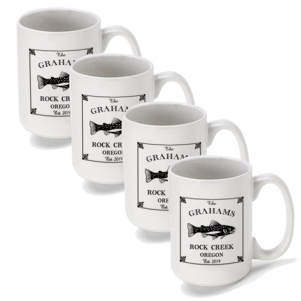 Personalized Coffee Mugs - Set of 4 - Cabin Series - Lake House Decor - Trout - JDS