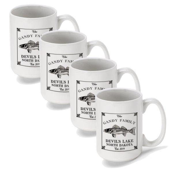 Personalized Coffee Mugs - Set of 4 - Cabin Series - Lake House Decor - Walleye - JDS