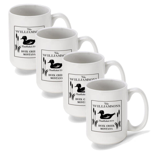 Personalized Coffee Mugs - Set of 4 - Cabin Series - Lake House Decor - Duck - JDS