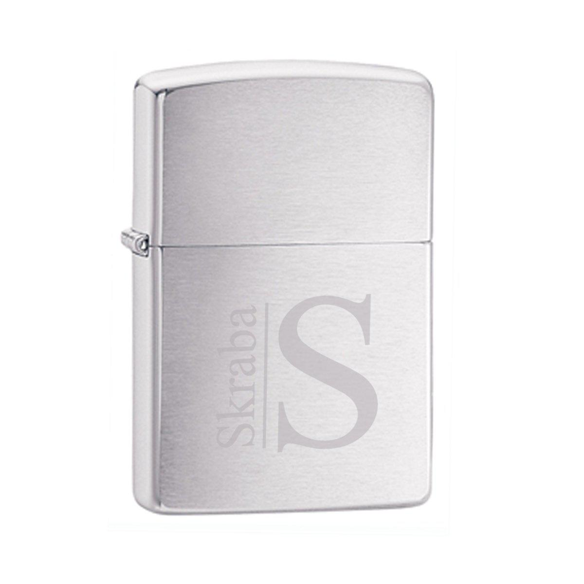 Personalized-Brushed-Chrome-Zippo-Lighter