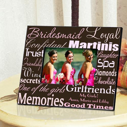 Personalized Bridesmaid Picture Frame - PinkBrown - Frames - AGiftPersonalized