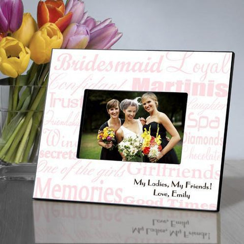 Personalized Bridesmaid Picture Frame - PinkWhite - Frames - AGiftPersonalized