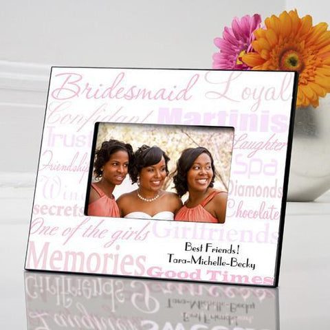 Personalized Bridesmaid Picture Frame - Pink - Frames - AGiftPersonalized