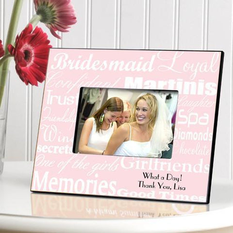 Personalized Bridesmaid Picture Frame - WhitePink - Frames - AGiftPersonalized