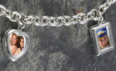 Personalized Sterling Silver Photo Charm Bracelet -  - Gifts for Mom - AGiftPersonalized