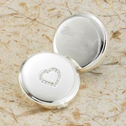 Monogrammed Sweetheart Silver Plated Compact -  - JDS