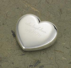 Personalized Paper Weight - Silver Plated - Heart Shape - Gifts for Mom at AGiftPersonalized