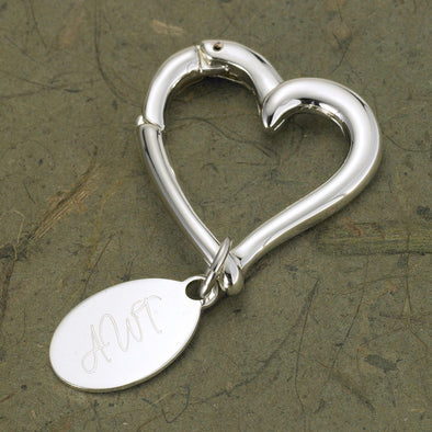 Personalized Heart Keychain with Oval Tag -  - JDS