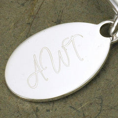 Personalized Keychain - Heart - Oval Tag - Birthday Gifts for Her -