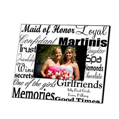 Personalized Maid of Honor Picture Frame - Black White - JDS
