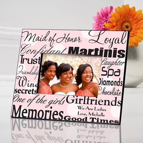 Personalized Maid of Honor Picture Frame - Pink Dot - JDS