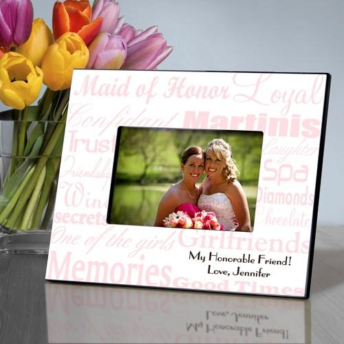 Personalized Maid of Honor Picture Frame - Pink White - JDS
