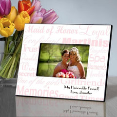 Personalized Maid of Honor Picture Frame - PinkWhite - Frames - AGiftPersonalized