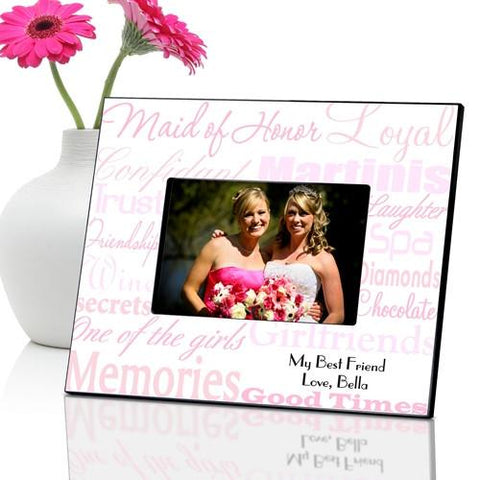 Personalized Maid of Honor Picture Frame - Pink - Frames - AGiftPersonalized