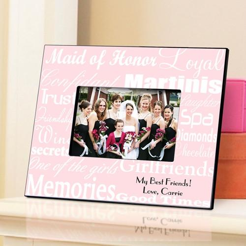 Personalized Maid of Honor Picture Frame - White Pink - JDS