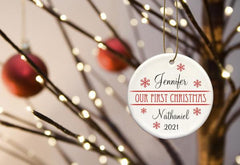 Our First Christmas Personalized Ceramic Ornament for Couples - ClassicRed - Ornaments - AGiftPersonalized