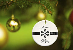 Our First Christmas Personalized Ceramic Ornament for Couples - ClassicBlack - Ornaments - AGiftPersonalized
