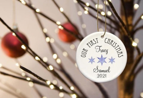 Our First Christmas Personalized Ceramic Ornament for Couples - BlueSnowflakes - Ornaments - AGiftPersonalized