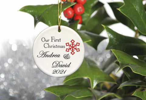Our First Christmas Personalized Ceramic Ornament for Couples - Red1 - Ornaments - AGiftPersonalized