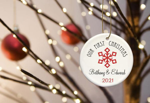 Our First Christmas Personalized Ceramic Ornament for Couples - Red2 - Ornaments - AGiftPersonalized