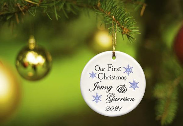 Our First Christmas Personalized Ceramic Ornament for Couples - BlueFlakes - JDS