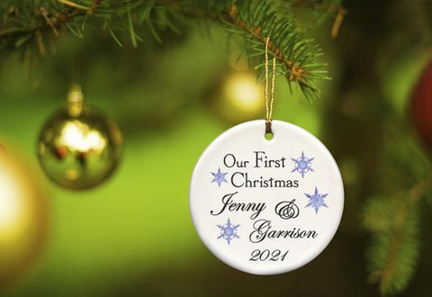 Our First Christmas Personalized Ceramic Ornament for Couples - BlueFlakes - Ornaments - AGiftPersonalized