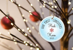 Our First Christmas Personalized Ceramic Ornament for Couples - BlueRed - Ornaments - AGiftPersonalized