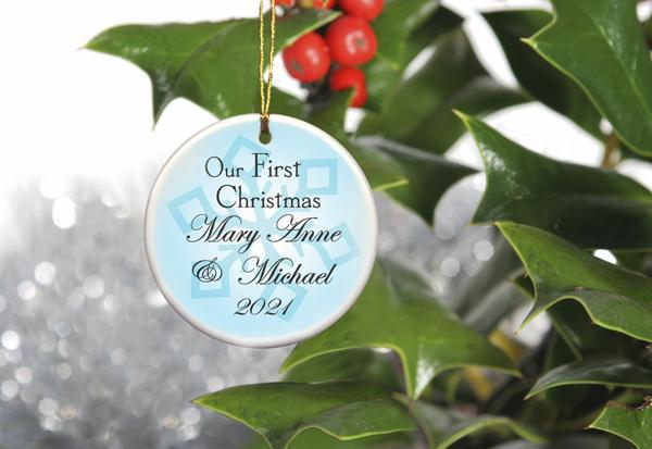 Our First Christmas Personalized Ceramic Ornament for Couples