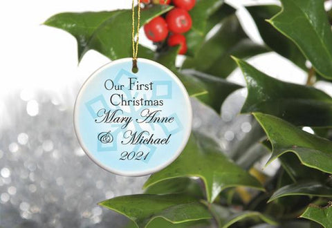Our First Christmas Personalized Ceramic Ornament for Couples - Blue - Ornaments - AGiftPersonalized