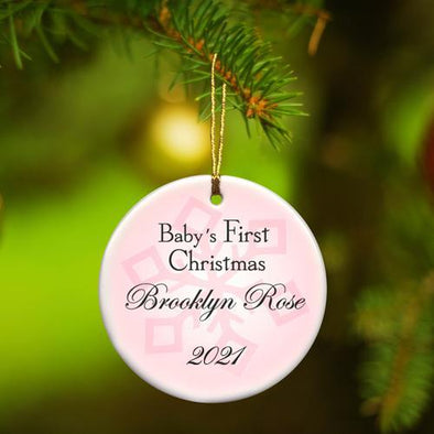 Personalized Baby Girl's First Christmas Ceramic Ornament - BabyGirl1 - JDS