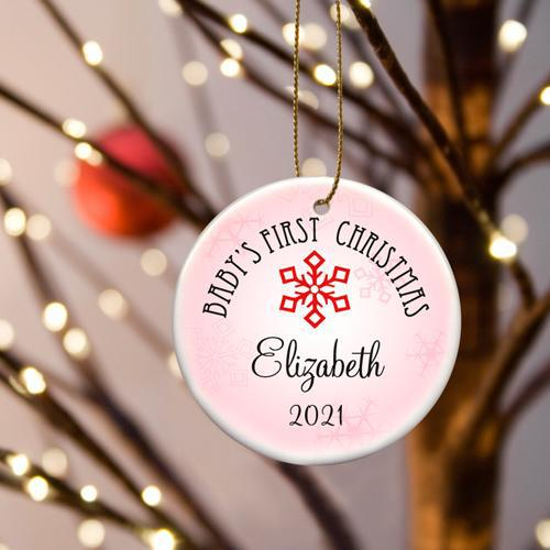 Personalized Baby Girls First Christmas Ceramic Ornament