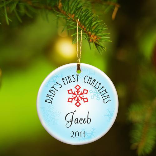 Personalized Baby Boys First Christmas Ceramic Ornament