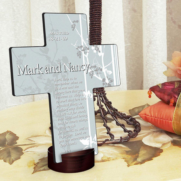 Personalized Faith and Flowers Cross with Stand -  - JDS