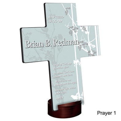 Personalized Faith and Flowers Cross with Stand - Prayer1 - JDS