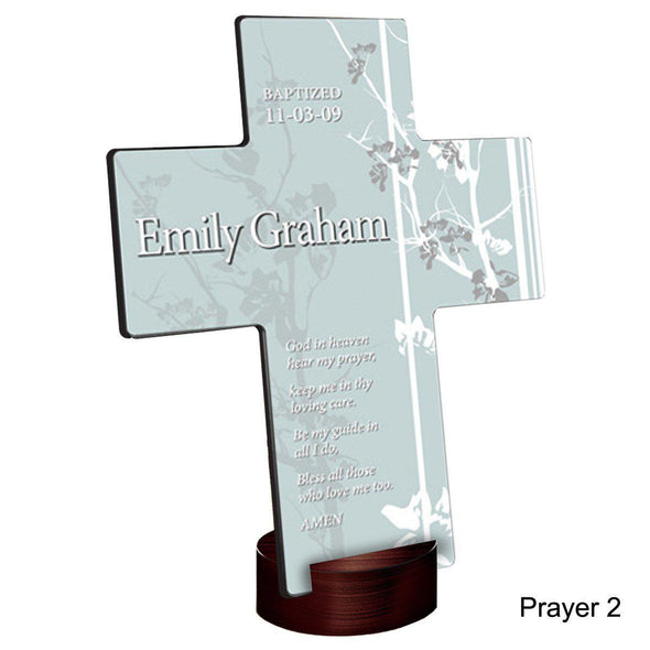 Personalized Faith and Flowers Cross with Stand - Prayer2 - JDS