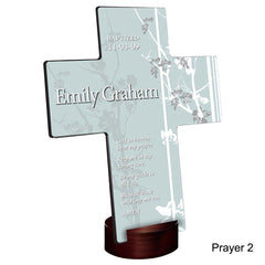 Personalized Faith and Flowers Cross with Stand - Prayer2 - Crosses - AGiftPersonalized