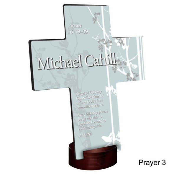 Personalized Faith and Flowers Cross with Stand - Prayer3 - JDS