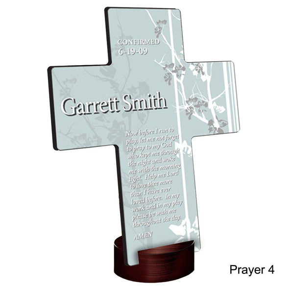 Personalized Faith and Flowers Cross with Stand - Prayer4 - JDS