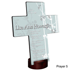 Personalized Faith and Flowers Cross with Stand - Prayer5 - Crosses - AGiftPersonalized